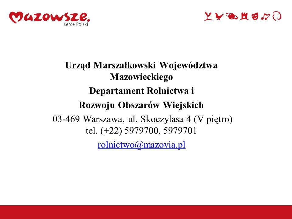 Urząd Marszałkowski Województwa Mazowieckiego Departament Rolnictwa i