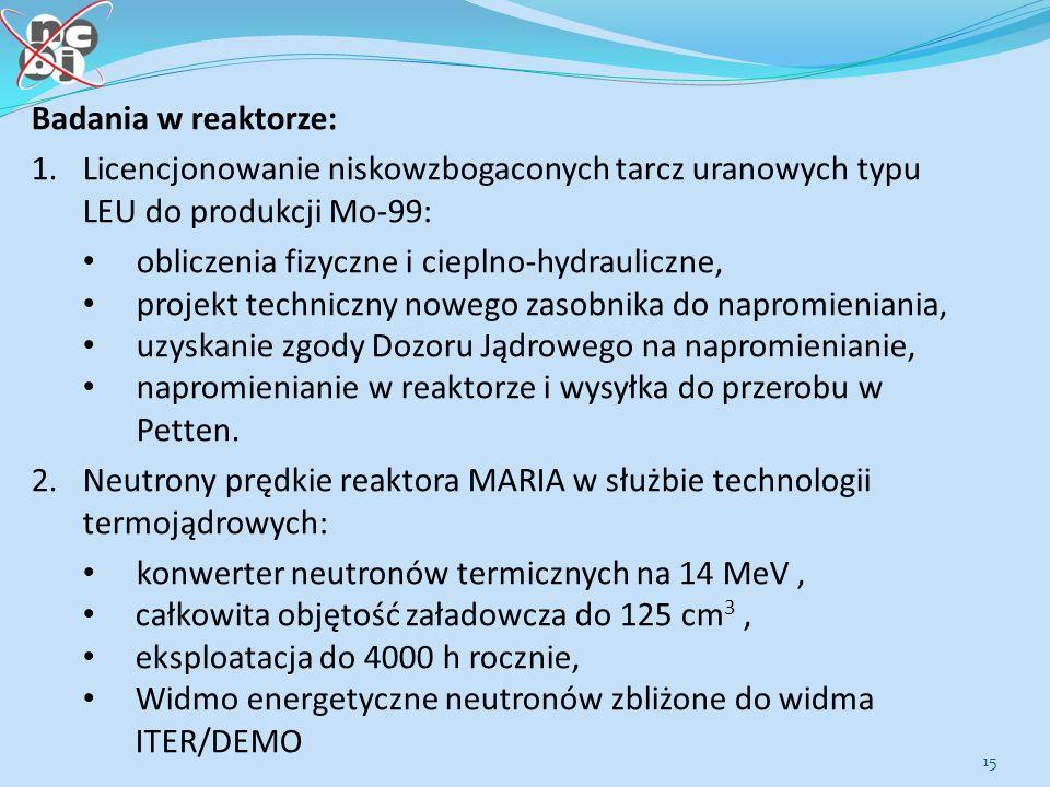 Badania w reaktorze: 1. Licencjonowanie niskowzbogaconych tarcz uranowych typu LEU do produkcji Mo-99: