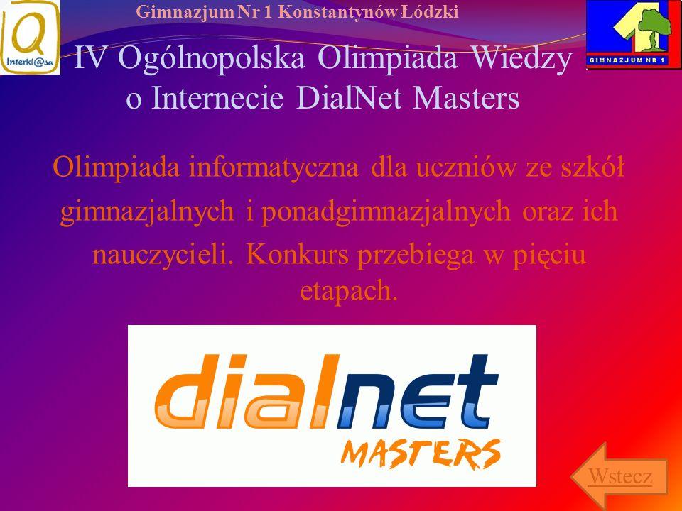 IV Ogólnopolska Olimpiada Wiedzy o Internecie DialNet Masters