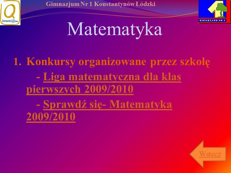 Matematyka Konkursy organizowane przez szkołę