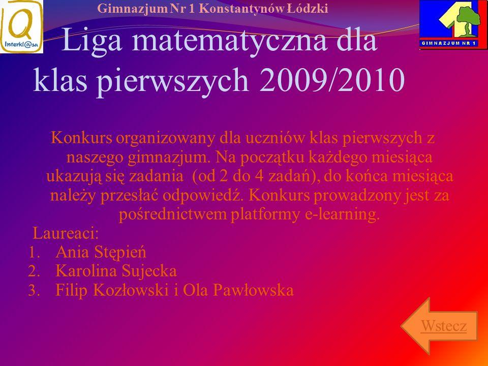 Liga matematyczna dla klas pierwszych 2009/2010