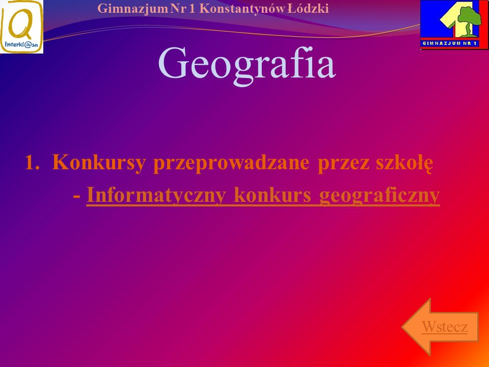 Geografia Konkursy przeprowadzane przez szkołę