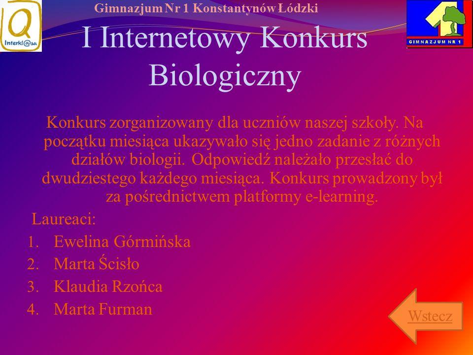 I Internetowy Konkurs Biologiczny
