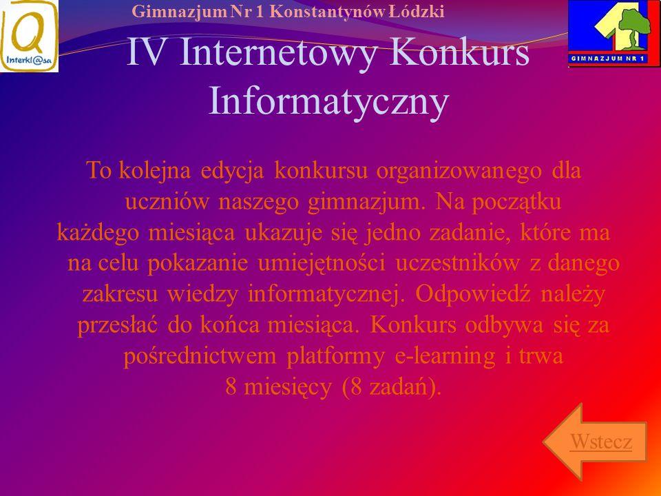 IV Internetowy Konkurs Informatyczny