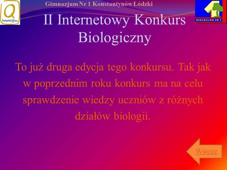 II Internetowy Konkurs Biologiczny