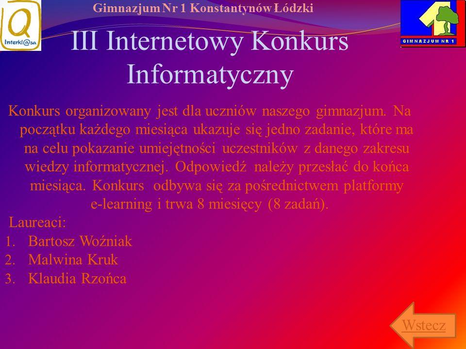 III Internetowy Konkurs Informatyczny