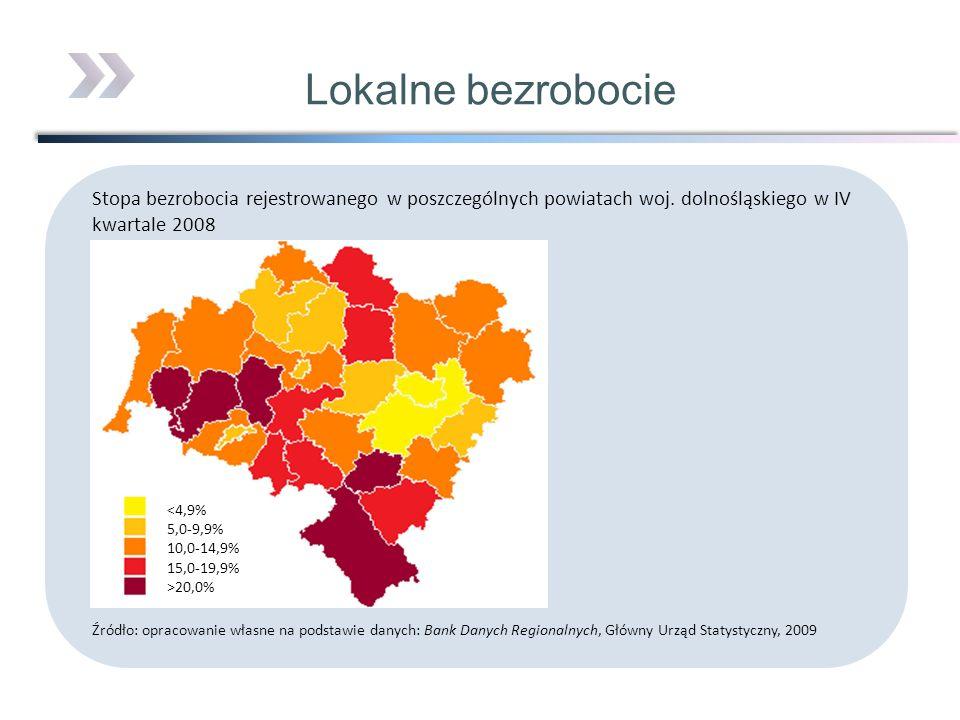 Lokalne bezrobocieStopa bezrobocia rejestrowanego w poszczególnych powiatach woj. dolnośląskiego w IV kwartale 2008.