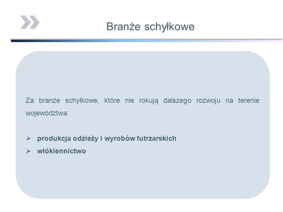 Branże schyłkoweZa branże schyłkowe, które nie rokują dalszego rozwoju na terenie województwa: produkcja odzieży i wyrobów futrzarskich.