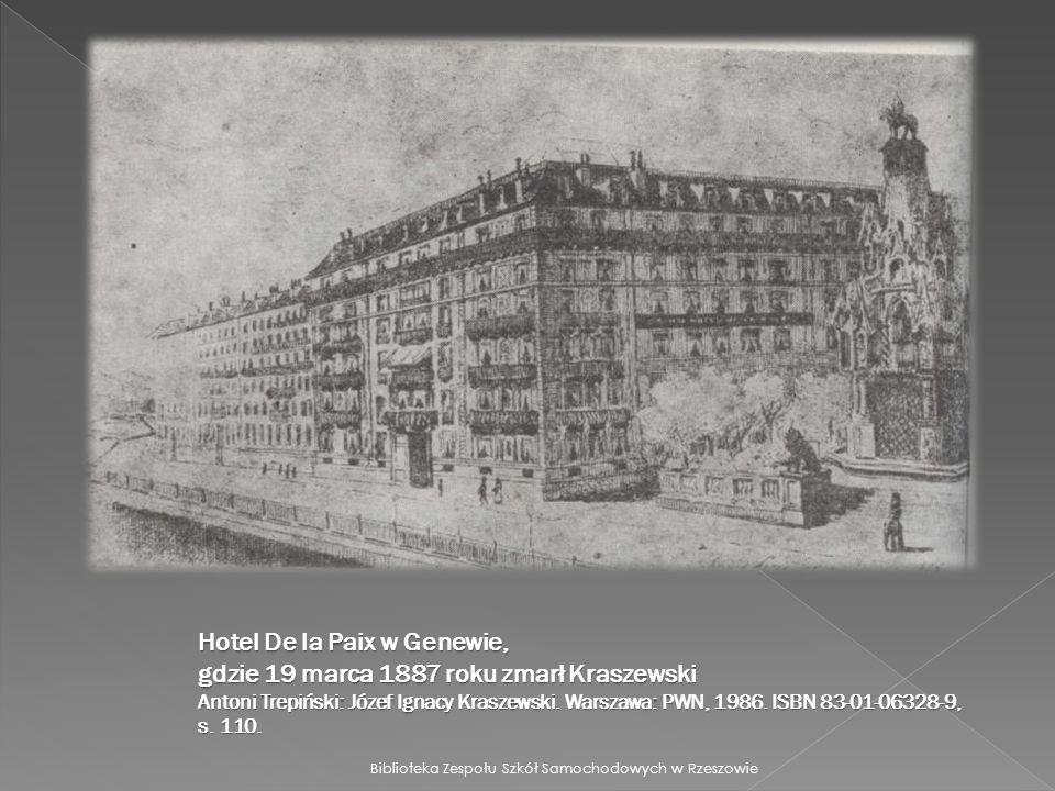 Hotel De la Paix w Genewie, gdzie 19 marca 1887 roku zmarł Kraszewski