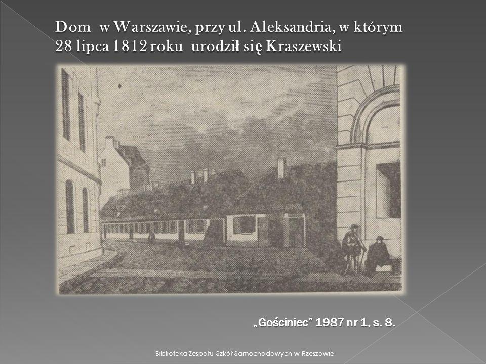 Dom w Warszawie, przy ul. Aleksandria, w którym 28 lipca 1812 roku urodził się Kraszewski