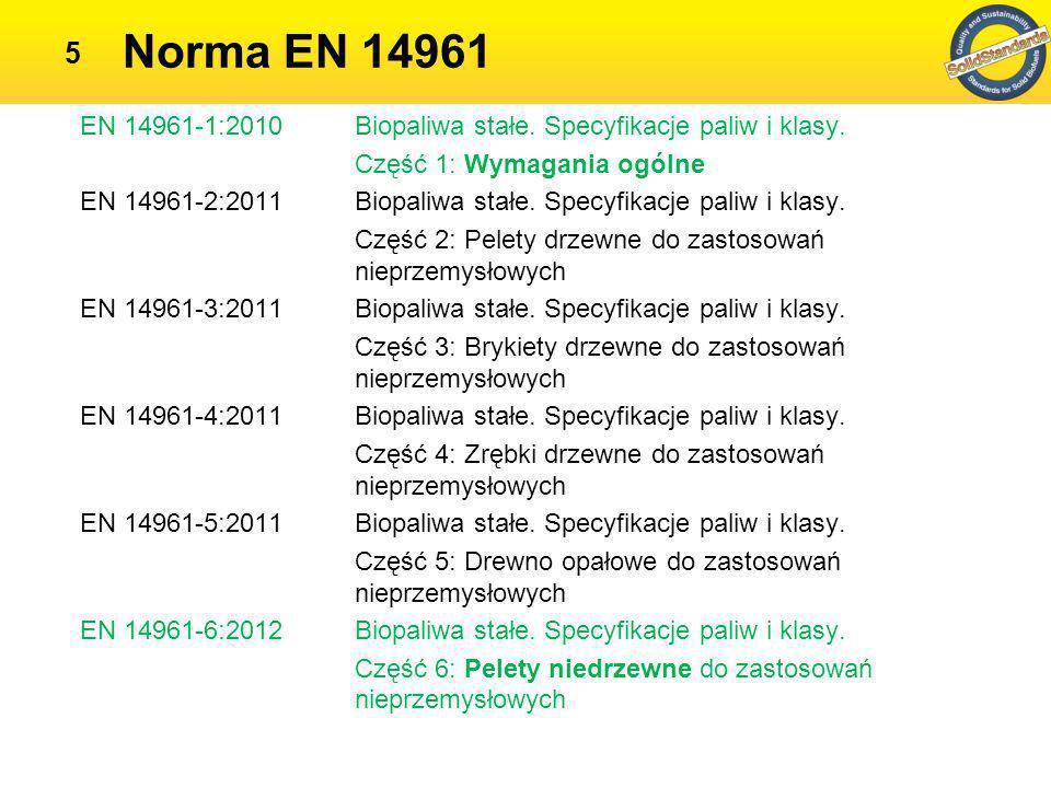 Norma EN 14961 EN 14961-1:2010 Biopaliwa stałe. Specyfikacje paliw i klasy. Część 1: Wymagania ogólne.
