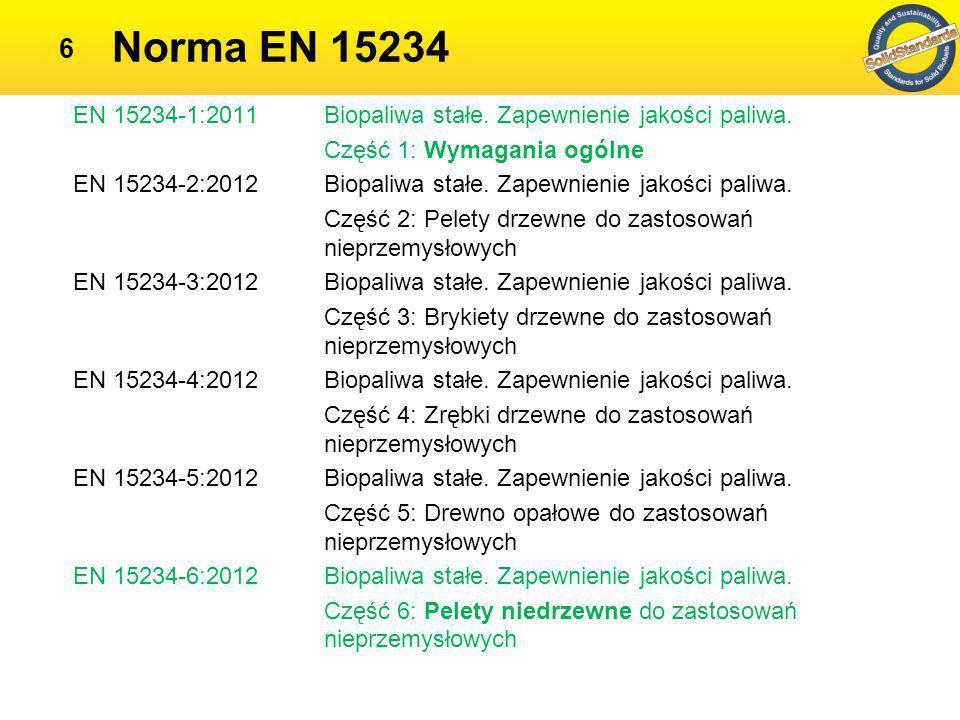 Norma EN 15234 EN 15234-1:2011 Biopaliwa stałe. Zapewnienie jakości paliwa. Część 1: Wymagania ogólne.