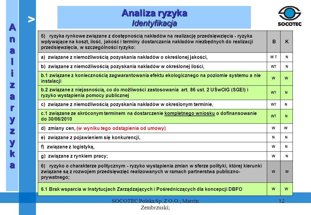 SOCOTEC Polska Sp. Z O.O.; Marcin Zembrzuski;