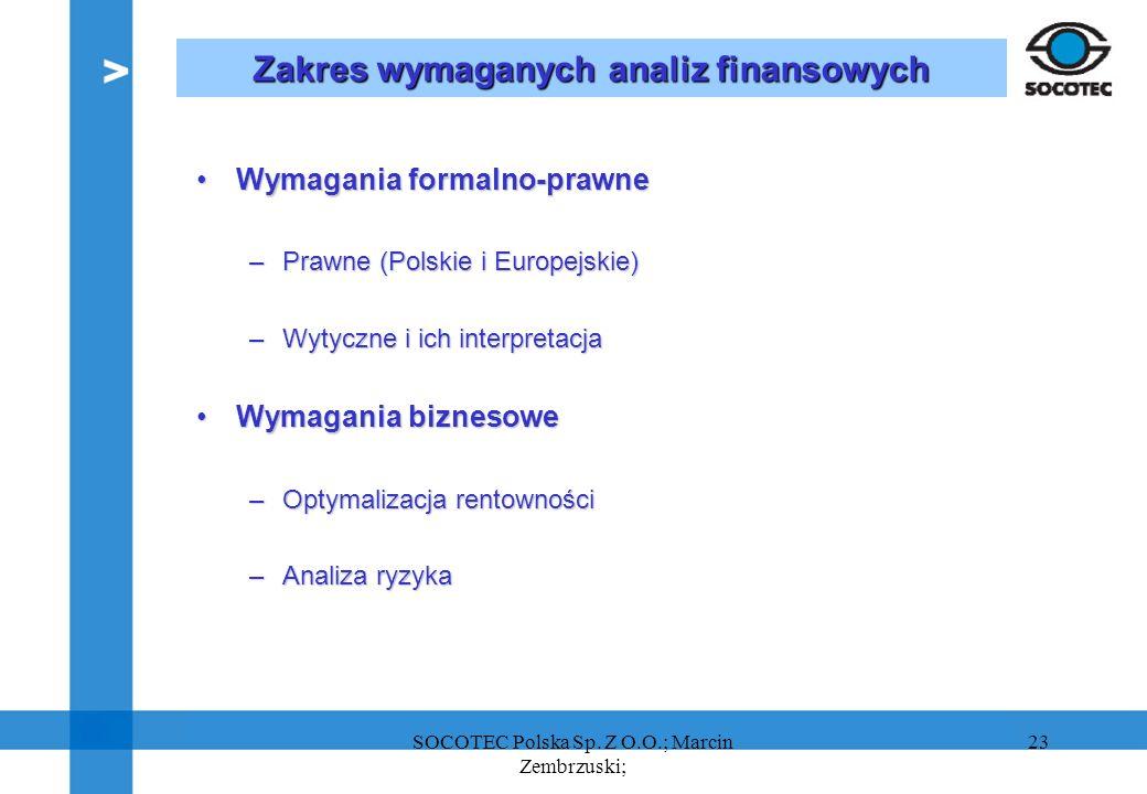 Zakres wymaganych analiz finansowych