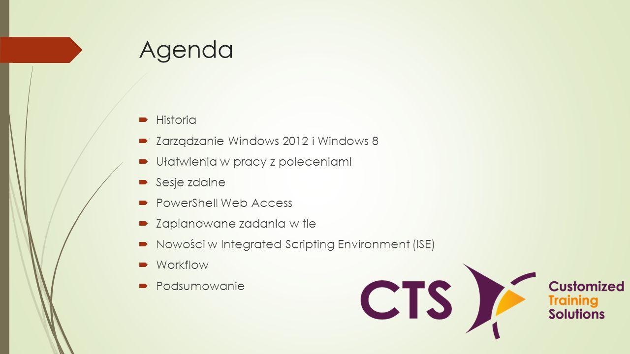 Agenda Historia Zarządzanie Windows 2012 i Windows 8