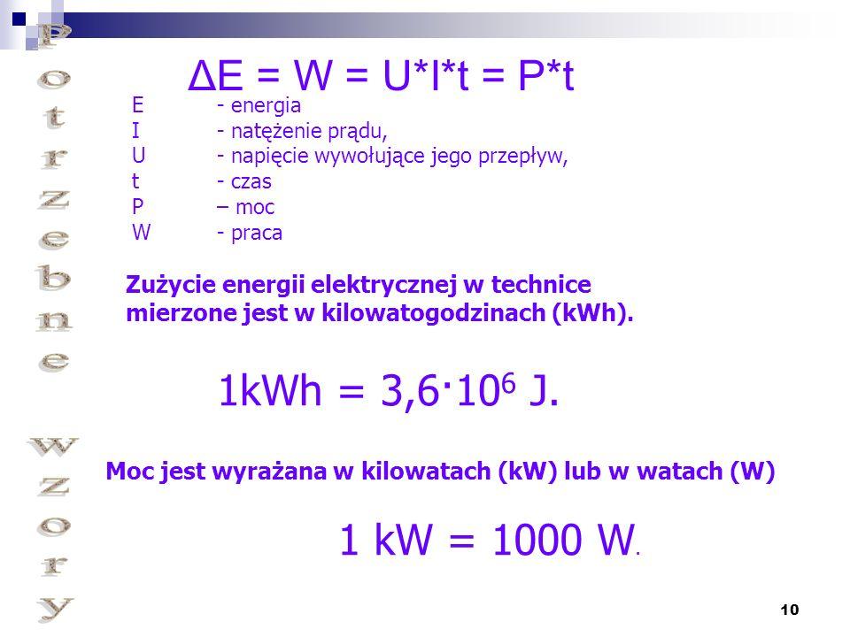 Moc jest wyrażana w kilowatach (kW) lub w watach (W)