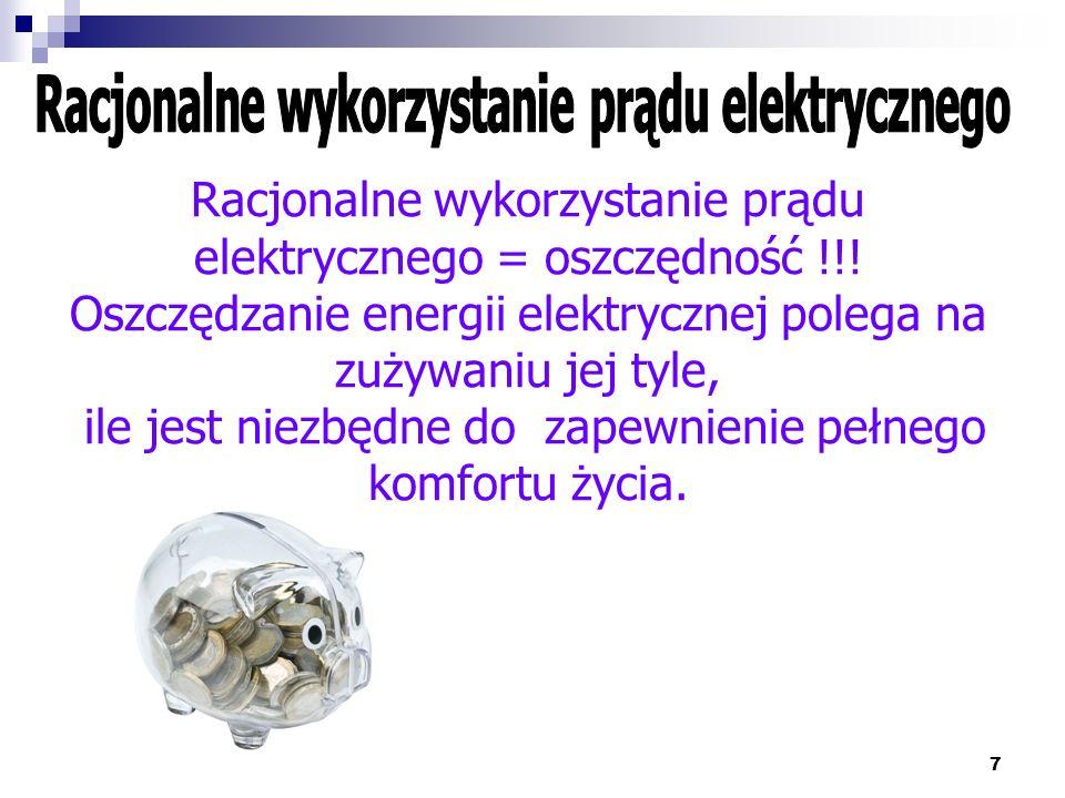 Racjonalne wykorzystanie prądu elektrycznego