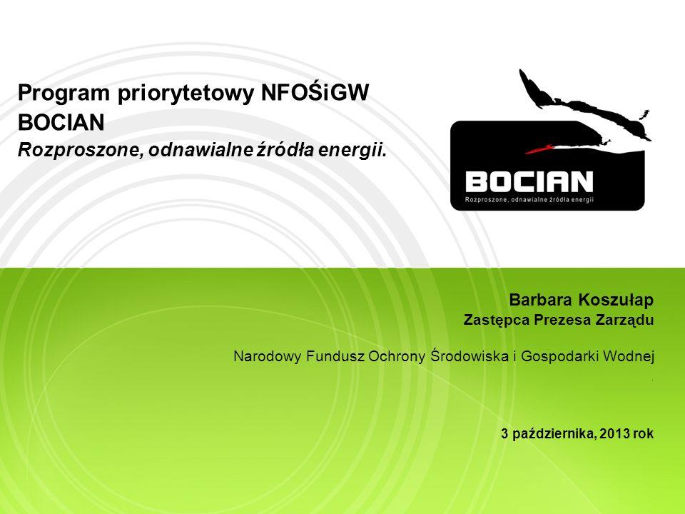 Program priorytetowy NFOŚiGW BOCIAN Rozproszone, odnawialne źródła energii.