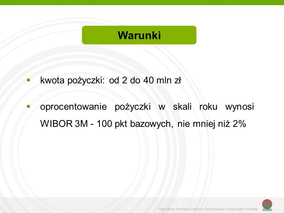 Warunki kwota pożyczki: od 2 do 40 mln zł