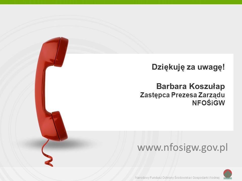 www.nfosigw.gov.pl Dziękuję za uwagę! Barbara Koszułap