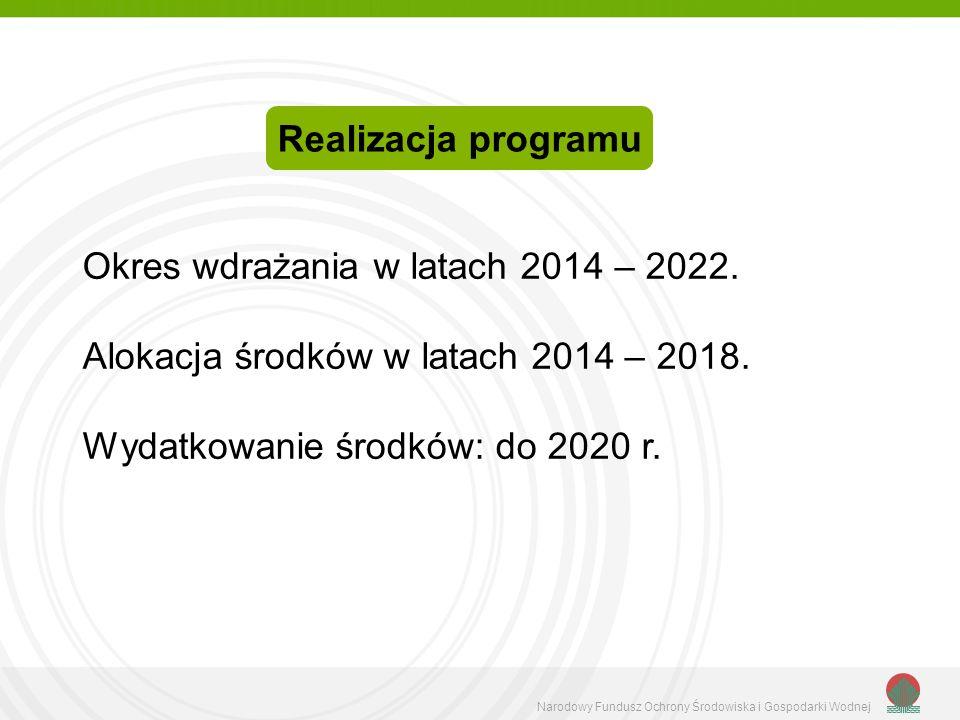 Realizacja programu Okres wdrażania w latach 2014 – 2022.