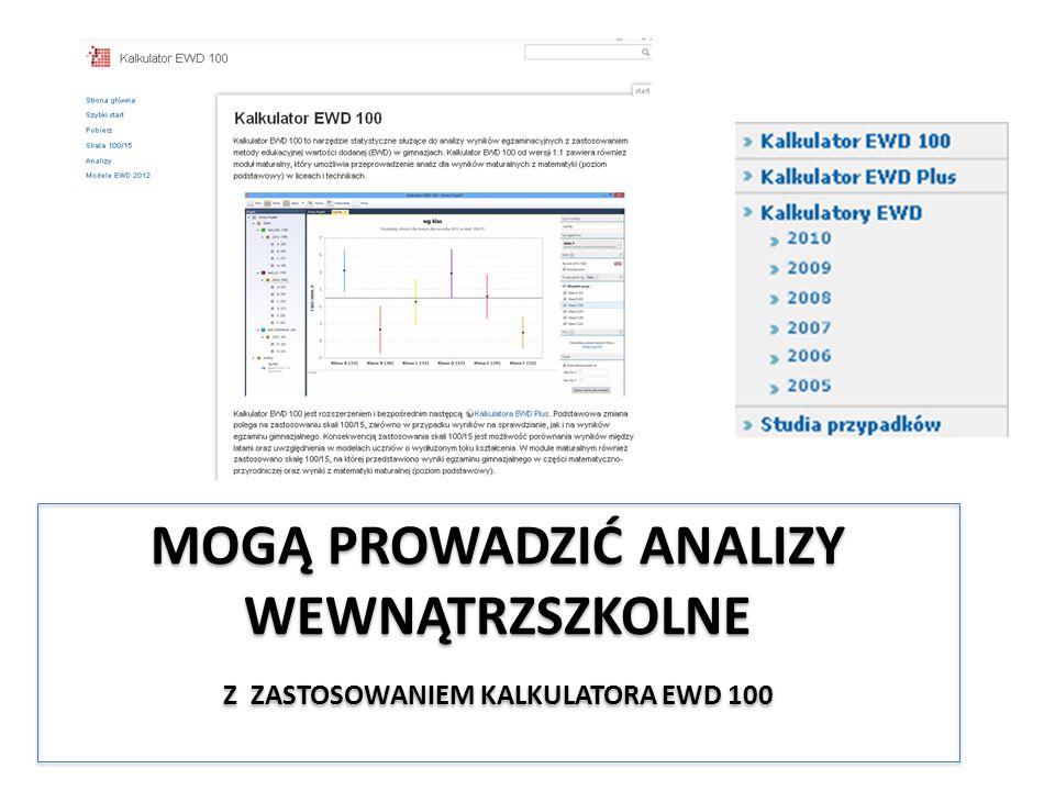 Mogą Prowadzić Analizy wewnątrzszkolne z zastosowaniem Kalkulatora EWD 100