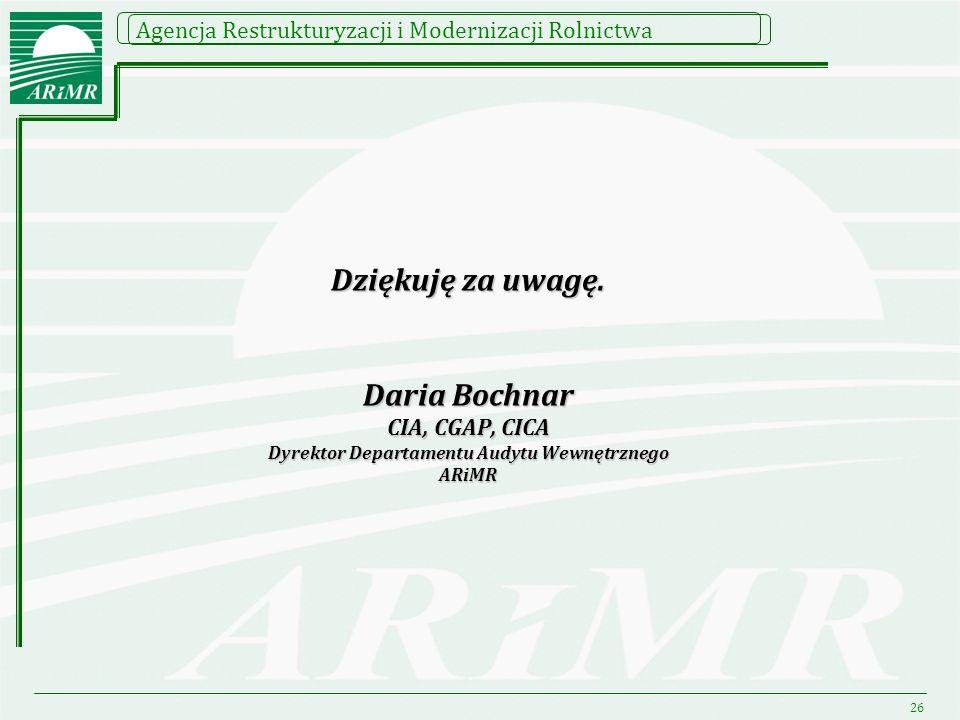 Dziękuję za uwagę. Daria Bochnar CIA, CGAP, CICA Dyrektor Departamentu Audytu Wewnętrznego ARiMR