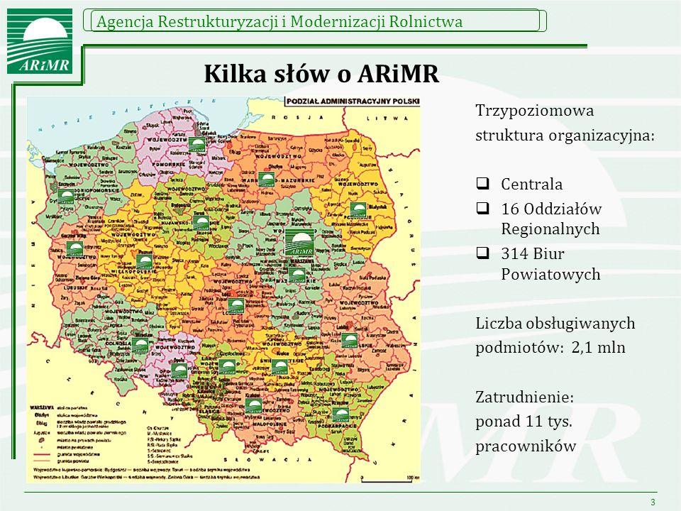 Kilka słów o ARiMR Trzypoziomowa struktura organizacyjna: Centrala