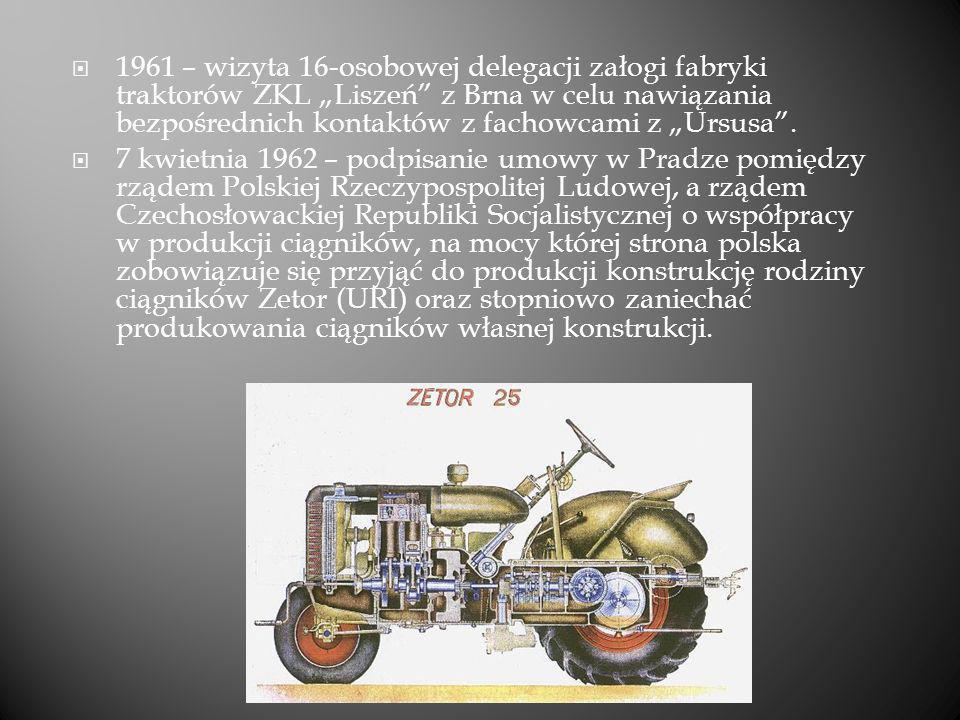 """1961 – wizyta 16-osobowej delegacji załogi fabryki traktorów ZKL """"Liszeń z Brna w celu nawiązania bezpośrednich kontaktów z fachowcami z """"Ursusa ."""