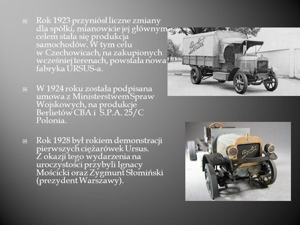 Rok 1923 przyniósł liczne zmiany dla spółki, mianowicie jej głównym celem stała się produkcja samochodów. W tym celu w Czechowicach, na zakupionych wcześniej terenach, powstała nowa fabryka URSUS-a.