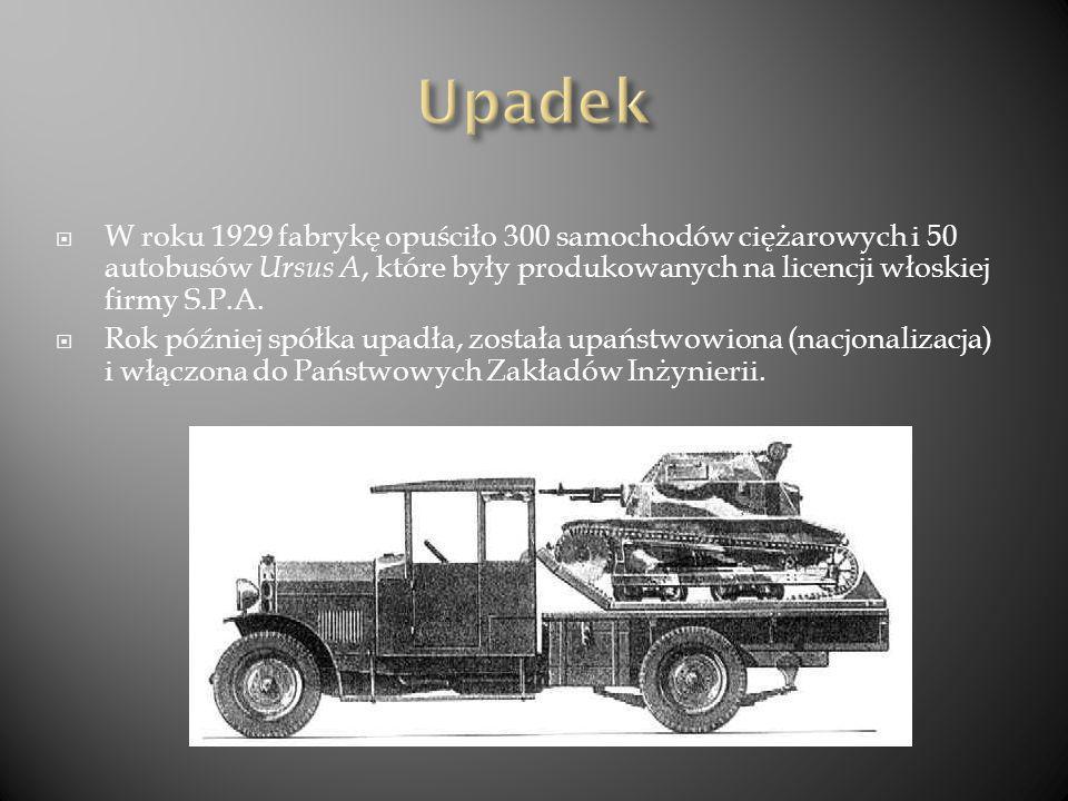 Upadek W roku 1929 fabrykę opuściło 300 samochodów ciężarowych i 50 autobusów Ursus A, które były produkowanych na licencji włoskiej firmy S.P.A.