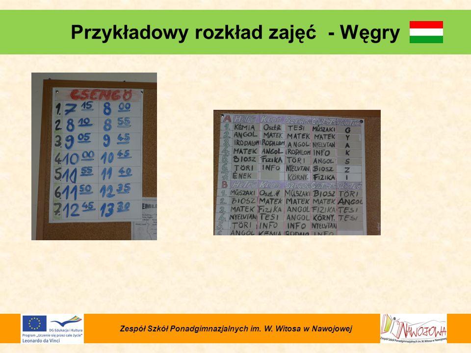 Przykładowy rozkład zajęć - Węgry