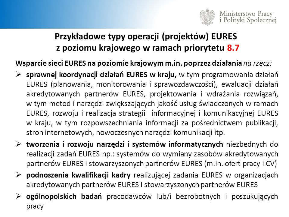 Przykładowe typy operacji (projektów) EURES z poziomu krajowego w ramach priorytetu 8.7
