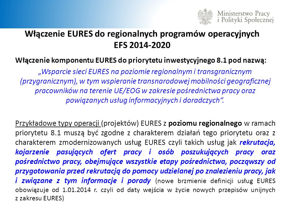 Włączenie EURES do regionalnych programów operacyjnych EFS 2014-2020