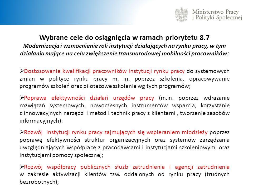 Wybrane cele do osiągnięcia w ramach priorytetu 8.7