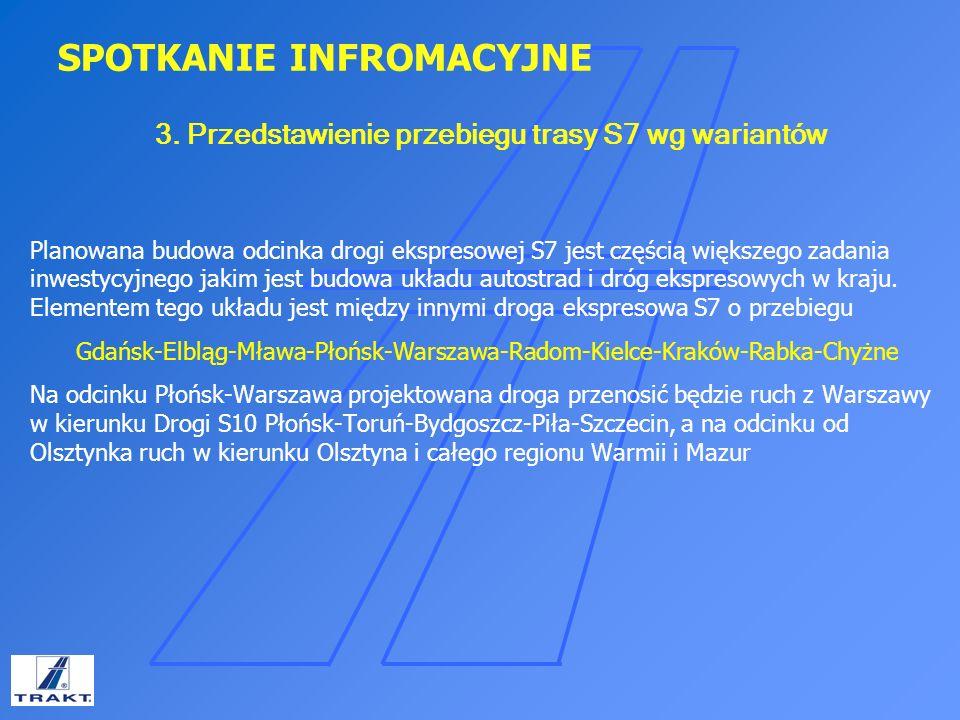 3. Przedstawienie przebiegu trasy S7 wg wariantów
