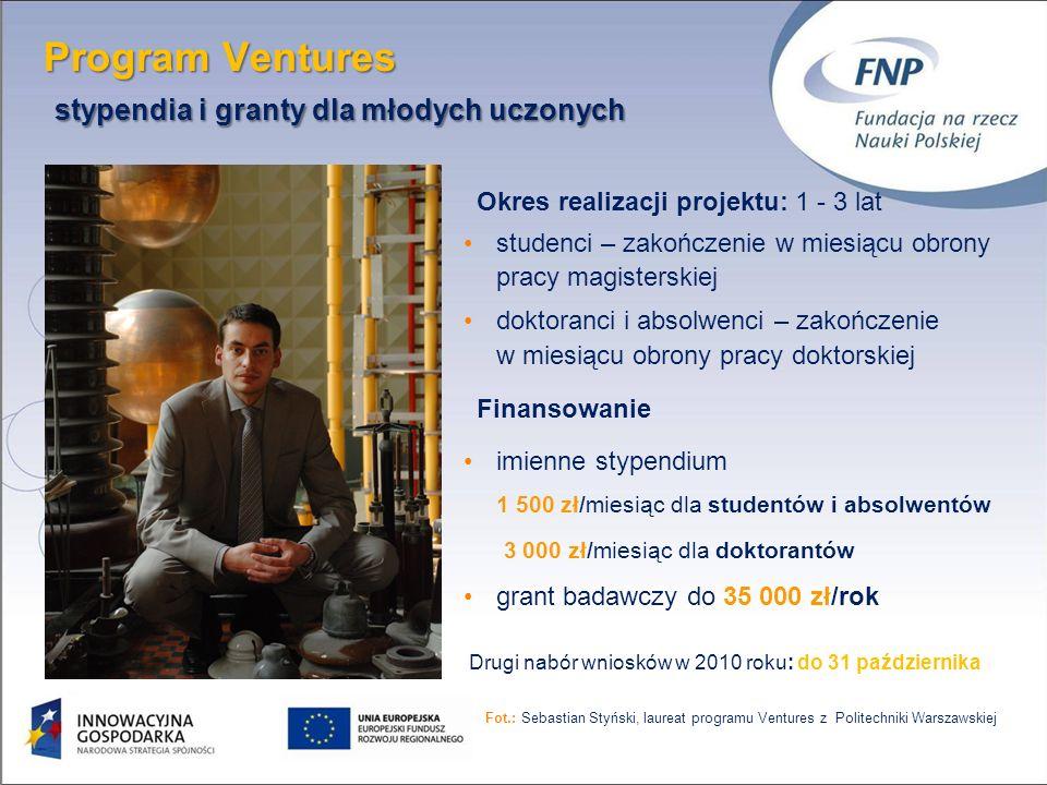 Program Ventures stypendia i granty dla młodych uczonych