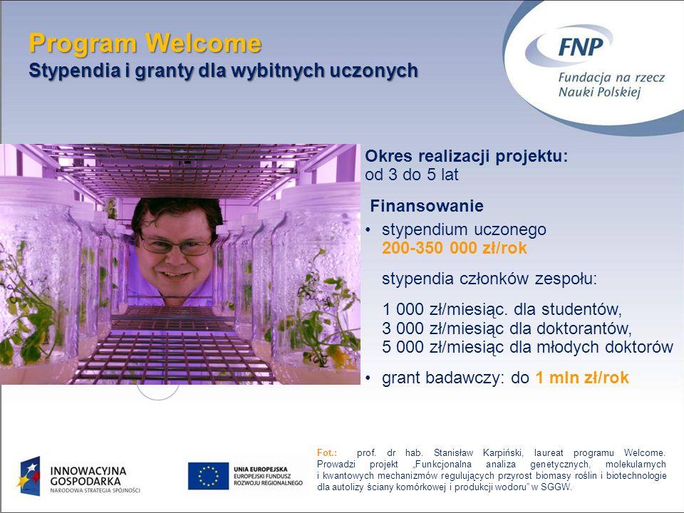Program Welcome Stypendia i granty dla wybitnych uczonych