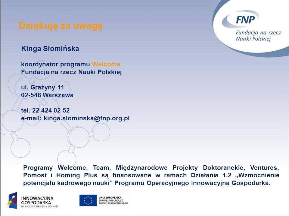Dziękuję za uwagę Kinga Słomińska koordynator programu Welcome