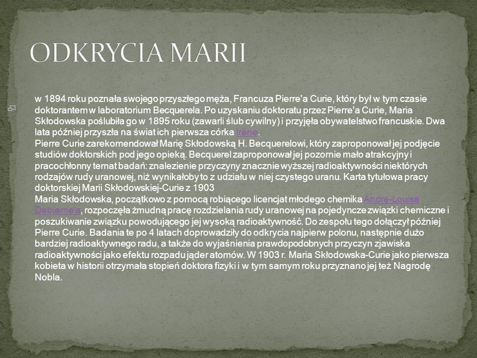 ODKRYCIA MARII