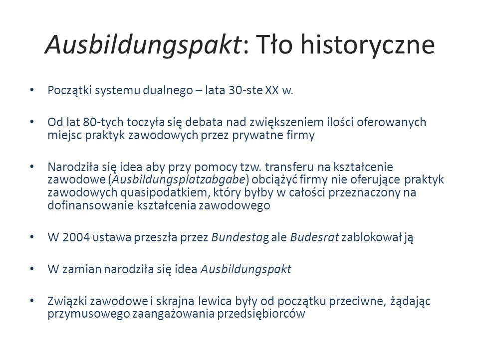 Ausbildungspakt: Tło historyczne