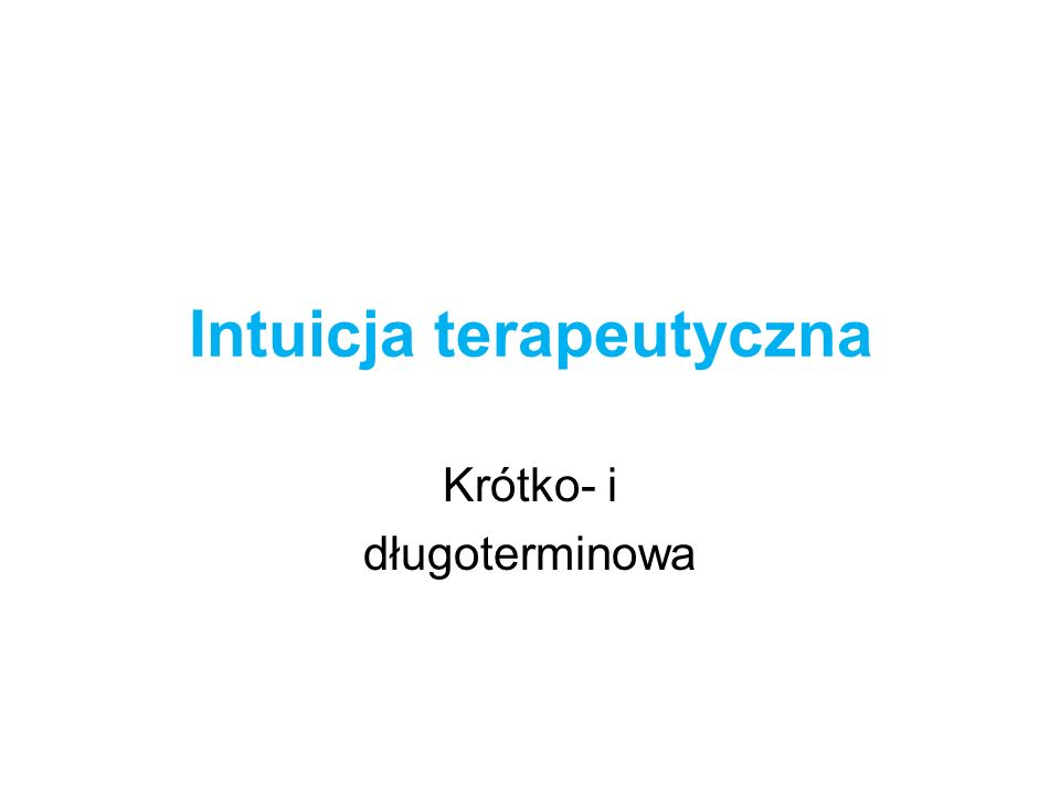 Intuicja terapeutyczna