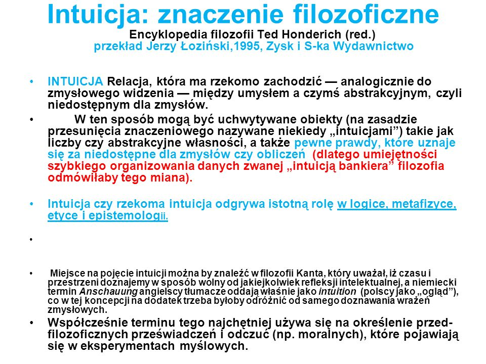 Intuicja: znaczenie filozoficzne Encyklopedia filozofii Ted Honderich (red.) przekład Jerzy Łoziński,1995, Zysk i S-ka Wydawnictwo