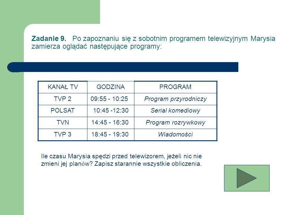 Zadanie 9. Po zapoznaniu się z sobotnim programem telewizyjnym Marysia zamierza oglądać następujące programy: