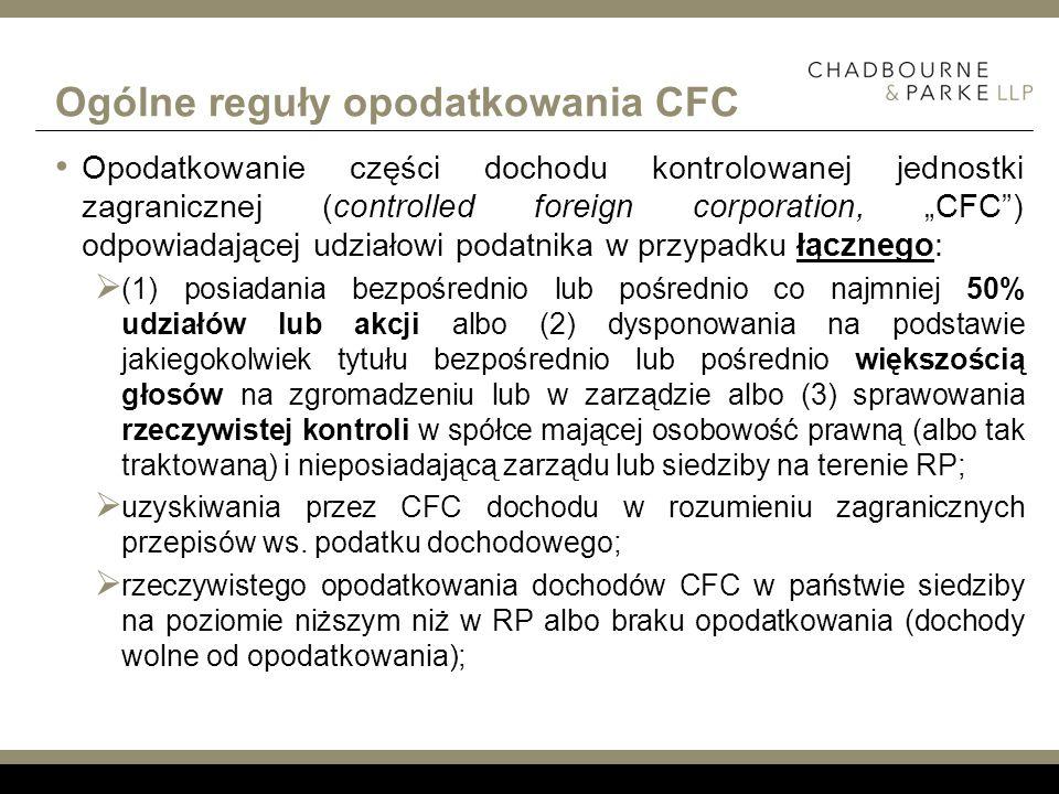 Ogólne reguły opodatkowania CFC