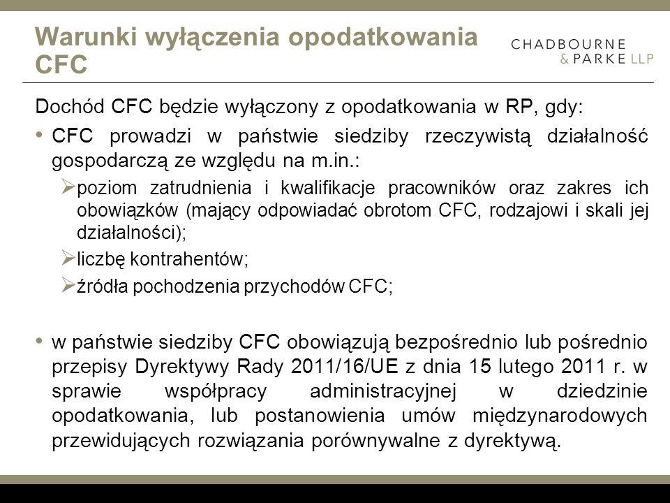 Warunki wyłączenia opodatkowania CFC