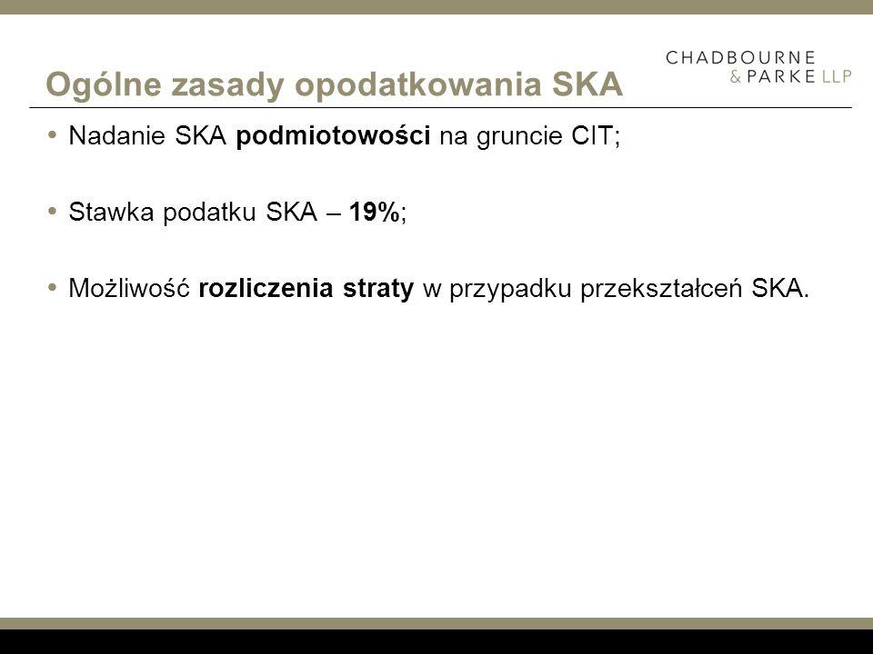 Ogólne zasady opodatkowania SKA