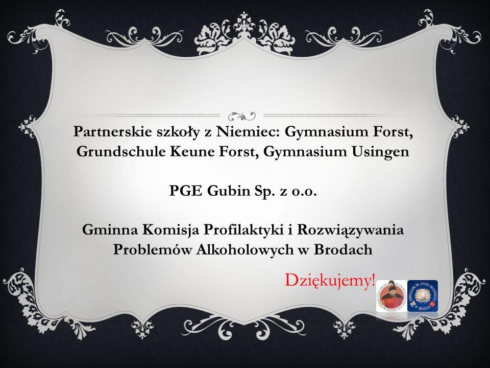 Partnerskie szkoły z Niemiec: Gymnasium Forst, Grundschule Keune Forst, Gymnasium Usingen
