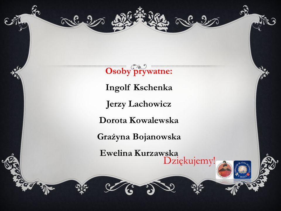 Dziękujemy! Osoby prywatne: Ingolf Kschenka Jerzy Lachowicz