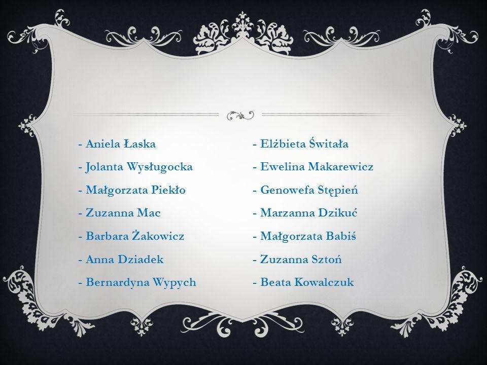 - Aniela Łaska - Jolanta Wysługocka - Małgorzata Piekło - Zuzanna Mac - Barbara Żakowicz - Anna Dziadek - Bernardyna Wypych
